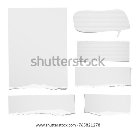 Torn ruled and blank note, notebook, paper strips, sheets speech bubble for text or message stuck on white background.