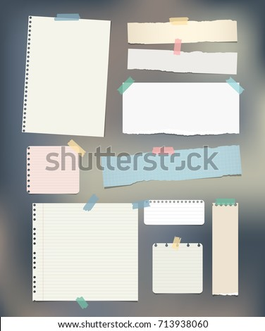 Torn ruled, note, notebook, copybook paper strips, sheets stuck with sticky tape on colorful background.