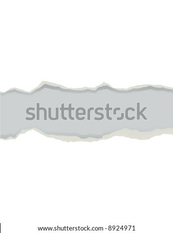 Torn sheet of white document paper vector illustration. Apply this image to any page to create a ripped effect - stock vector