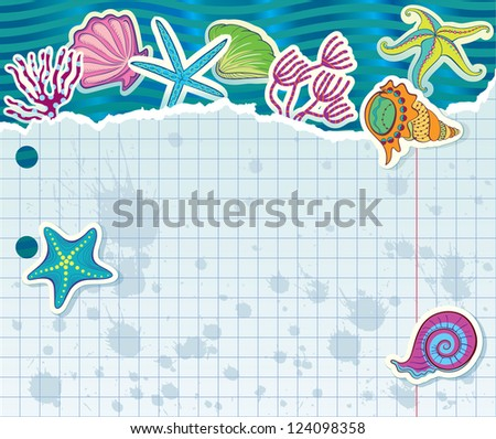 Torn sheet with barnacles, algae and sea stars. - stock vector