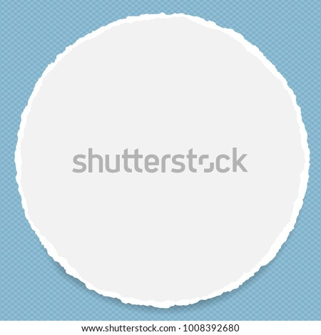 Torn white blank note, notebook paper stuck on blue squared background