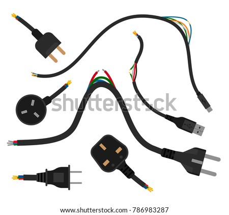 Torn Wires With Plugs Broken Wire Flat Vector Illustration Cable Break Disconnect Concept