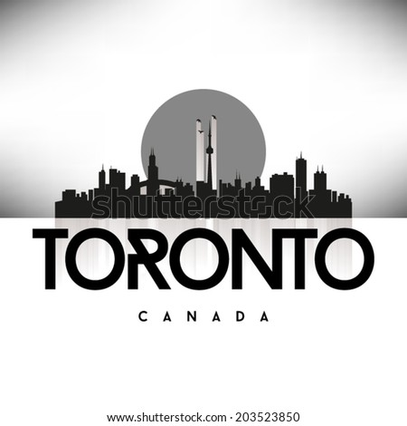 Toronto Canada Black skyline silhouette vector design. - stock vector
