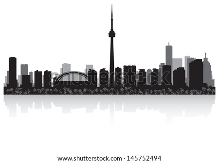 Toronto Canada city skyline silhouette vector illustration - stock vector