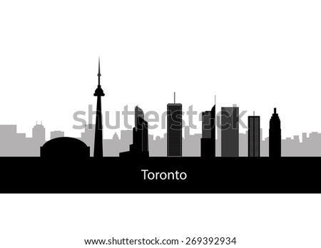 Toronto Canada skyline. Detailed vector silhouette