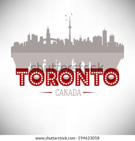 Toronto Canada skyline silhouette vector design. - stock vector