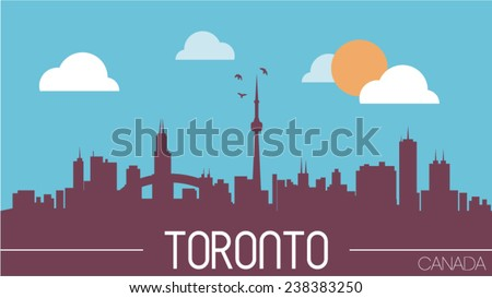 Toronto Canada skyline silhouette vector illustration - stock vector