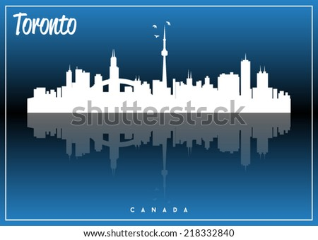 Toronto, Canada, USA skyline silhouette vector design on parliament blue background. - stock vector