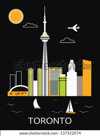 Toronto city.Canada. Vector - stock vector