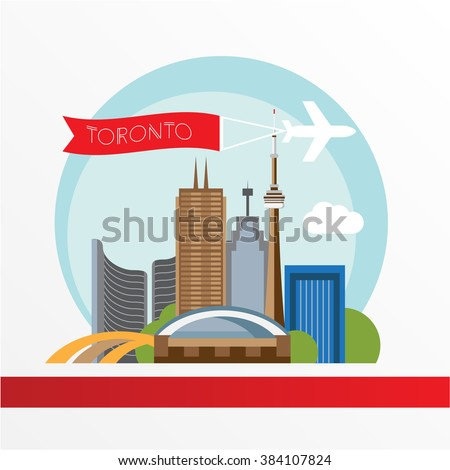 Toronto detailed silhouette. Trendy vector illustration, flat style. Stylish colorful  landmarks. The concept for a web banner. City Hall - The symbol of Toronto, Canada - stock vector