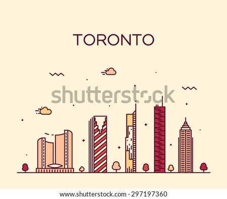 Toronto skyline, detailed silhouette. Trendy vector illustration, linear style. - stock vector