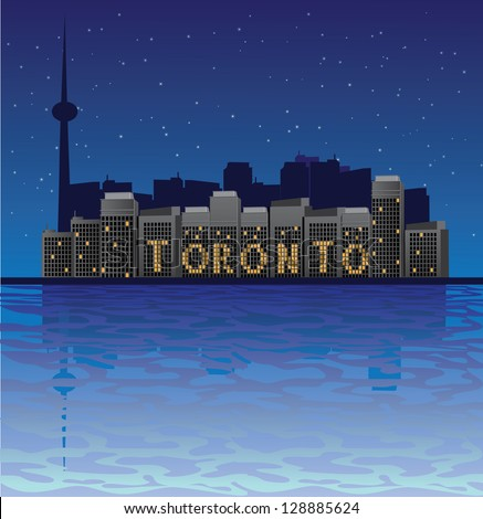 Toronto Skyline Spelled Out in Lights. EPS 8 vector, no open shapes or paths. Grouped for easy editing. - stock vector