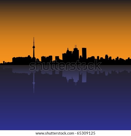 Toronto Skyline Sunset (eps10 vector) - stock vector