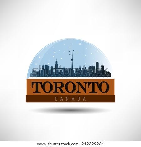 Toronto, United States of America city skyline silhouette in snow globe. Vector design. - stock vector