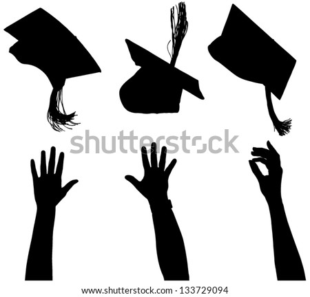 Tossing mortarboard Silhouette on white background - stock vector
