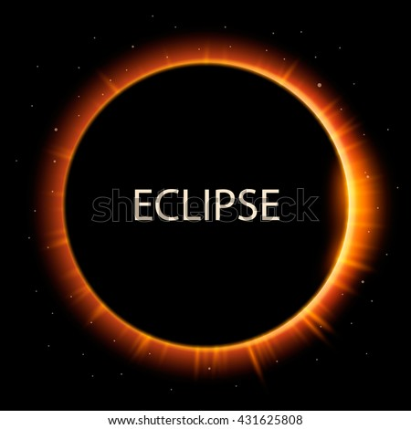 Total eclipse of the sun, eclipse background, vector illustration - stock vector