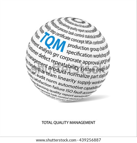 Total quality management word ball. White ball with main title TQM and filled by other words related with TQM method. Vector illustration