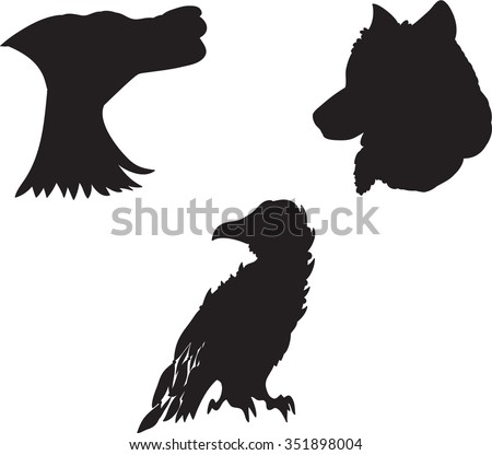Totem and wolf head and raven silhouettes. - stock vector