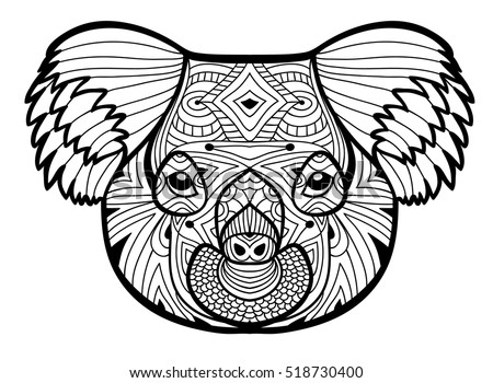 totem coloring page for adults the head of the koala