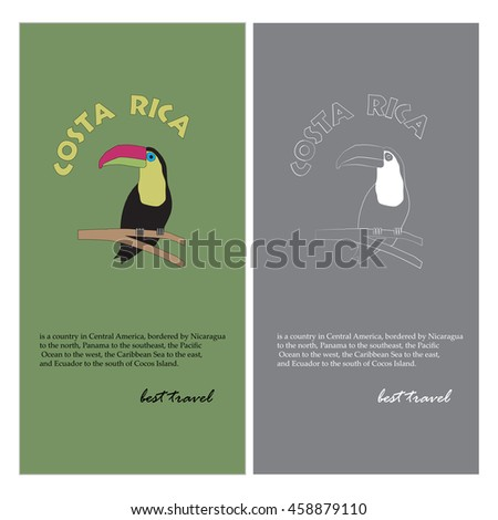 Toucan image in retro style and colors. Travel to Costa Rica Poster