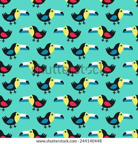 Toucan seamless pattern. Vector illustration. - stock vector