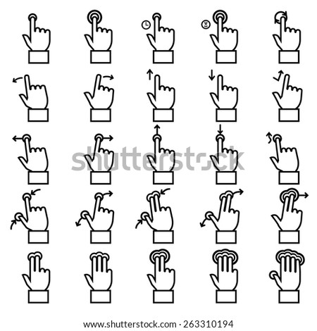 Touch gestures line icons set - stock vector