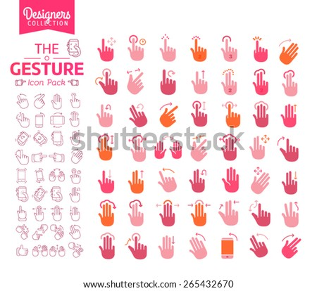 Touch Gestures line icons set. - Designer collection - stock vector