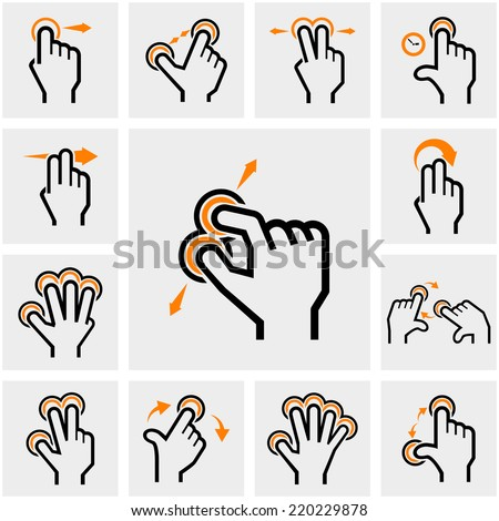 Touch icons set on gray  - stock vector