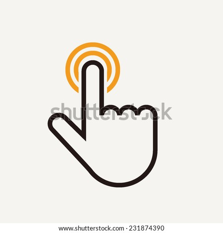 Touch outline vector illustration icon isolated on light background - stock vector