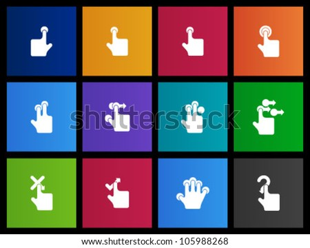 Touch pad gestures icon series in Metro style - stock vector