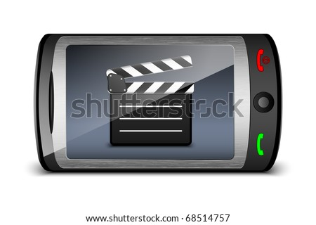 Touch phone with clap board on the screen. Vector - stock vector