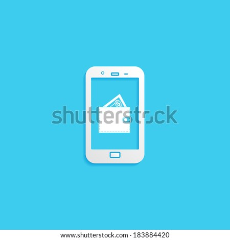 touch phone with icon mobile wallet on the screen - stock vector