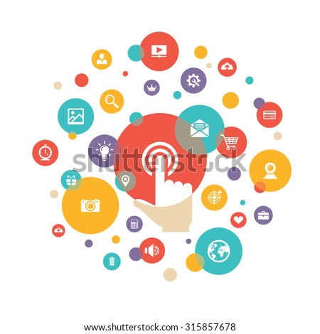 Touch screen finger - creative vector illustration in flat style. Human hand of surface display. SEO - search engine optimization. Icons set. Design element. - stock vector