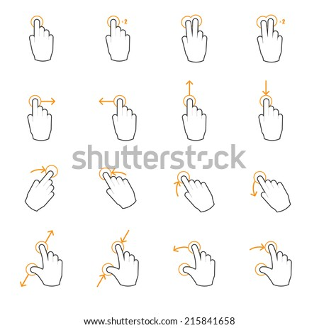 Touch screen gesture hand signs - stock vector