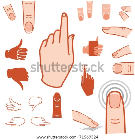 touch screen gesture, pointer, fingers and hands icon - stock vector