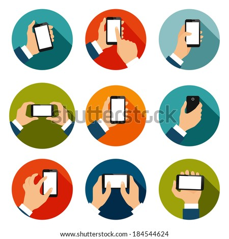 Touch screen hand gestures flat icons set of using mobile interface isolated vector illustration - stock vector