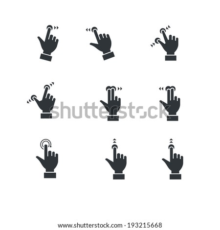 touch screen hand gestures icons - stock vector