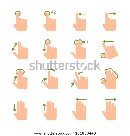 Touch screen hand gestures icons set of swipe pinch and tap isolated vector illustration - stock vector