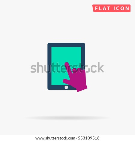 Touch screen Icon Vector. Flat color symbol on white background with shadow