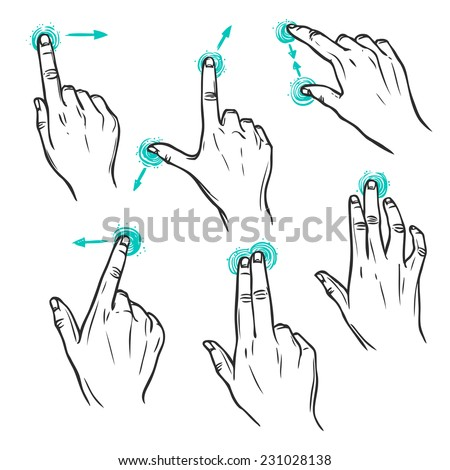 Touch screen interface hand gestures decorative sketch icons set isolated vector illustration - stock vector