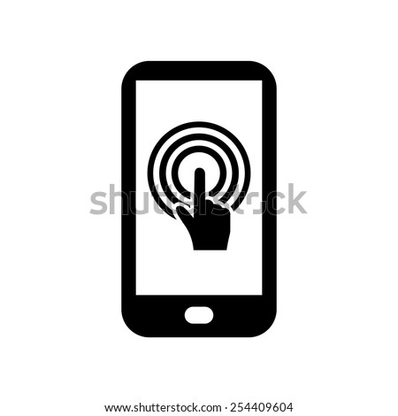 Touch screen smartphone sign icon. Hand pointer symbol. Flat design style. Vector EPS 10. - stock vector