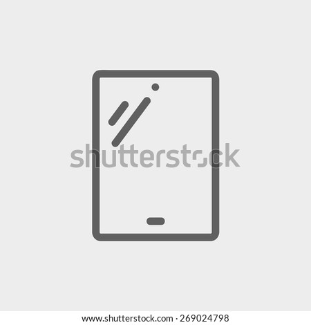 Touch screen tablet icon thin line for web and mobile, modern minimalistic flat design. Vector dark grey icon on light grey background. - stock vector