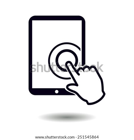 Touch screen tablet PC sign icon. Hand pointer symbol.  - stock vector