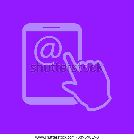 Touch screen tablet PC sign icon. Hand pointer symbol.  Mail on Screen Tablet PC. - stock vector