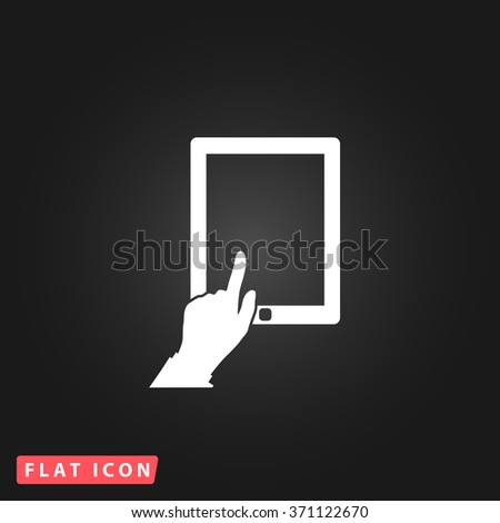Touch screen tablet. White flat simple vector icon on black background. Icon JPEG JPG. Icon Picture Image. Icon Graphic Art. Icon EPS AI. Icon Drawing Object. Icon Path UI - stock vector
