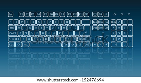Touch screen virtual keyboard, glowing keys and reflection on blue background - stock vector