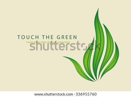 touch the nature of the green leaves of grass as a gesture fuck off - stock vector