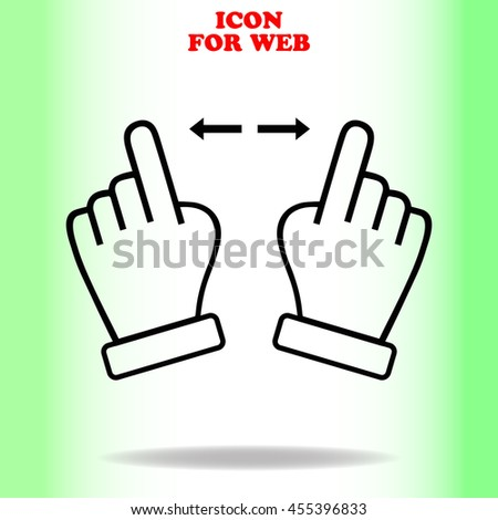 Touch web icon. Black illustration on white background
