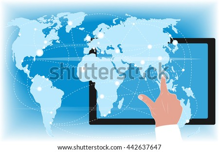 Touching hand, tablet computer, and world map.