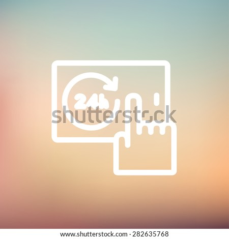 Touching the time in smartphone icon thin line for web and mobile, modern minimalistic flat design. Vector white icon on gradient mesh background. - stock vector
